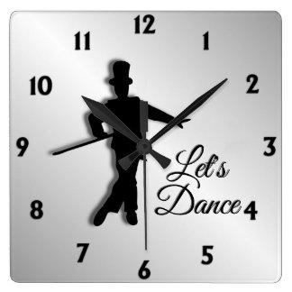 Relógio Quadrado O dançarino de torneira deixou-nos dançar doze