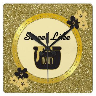 Relógio Quadrado O doce do brilho do ouro do falso gosta do mel