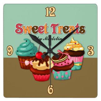 Relógio Quadrado O doce trata o pulso de disparo dos cupcakes