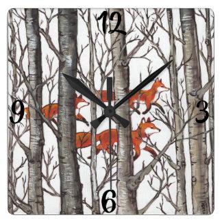 Relógio Quadrado O Fox vermelho Foxes o pulso de disparo cinzento