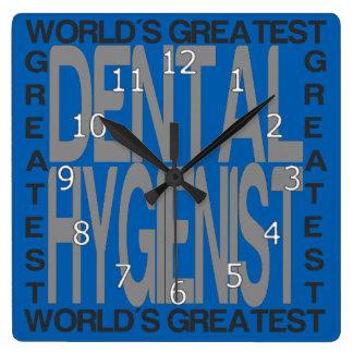 Relógio Quadrado O grande higienista dental dos mundos