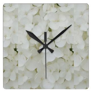 Relógio Quadrado O Hydrangea floresce a flor elegante branca floral