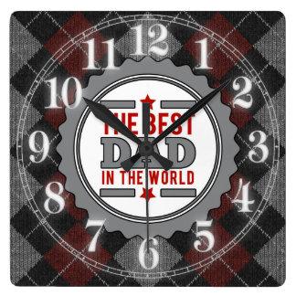 Relógio Quadrado O melhor pai no mundo Argyle modelado