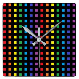 Relógio Quadrado O mini arco-íris esquadra o preto