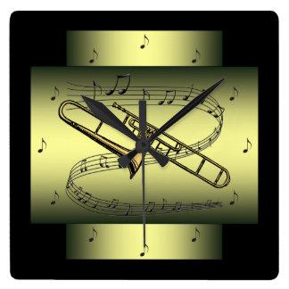 Relógio Quadrado O ~ musical do redemoinho do ~ do Trombone nota o