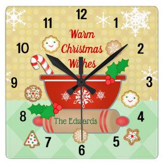 Relógio Quadrado O Natal deseja o pulso de disparo feito sob