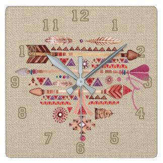 Relógio Quadrado O nativo americano Boho empluma-se o coração das