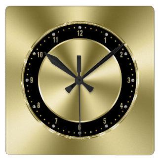 Relógio Quadrado O ouro brilhante do falso tonifica de aço