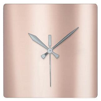 Relógio Quadrado O ouro mínimo do rosa do rosa metálico cora pó