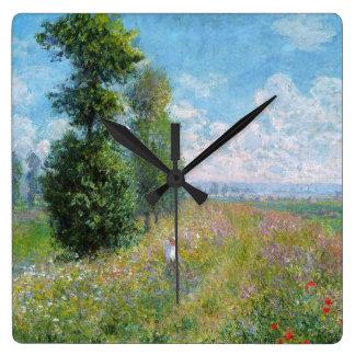 Relógio Quadrado O prado de Monet com os álamos no pulso de disparo
