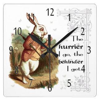 Relógio Quadrado O pulso de disparo branco do coelho, o Hurrier eu