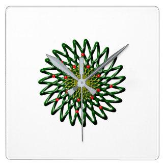 Relógio Quadrado O pulso de disparo de parede da flor do rubi