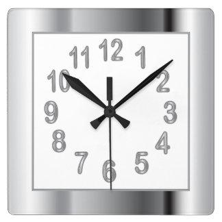 Relógio Quadrado O quadro e os números de prata | escolhem a cor do