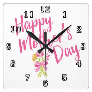 Relógio Quadrado O rosa feliz do dia das mães floresce o presente