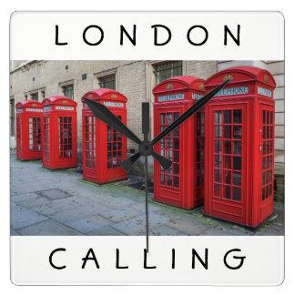 Relógio Quadrado O telefone vermelho de Londres encaixota o pulso