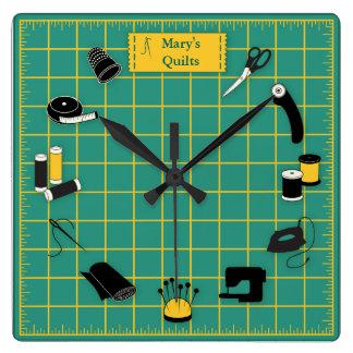 Relógio Quadrado O tempo da edredão personaliza a etiqueta