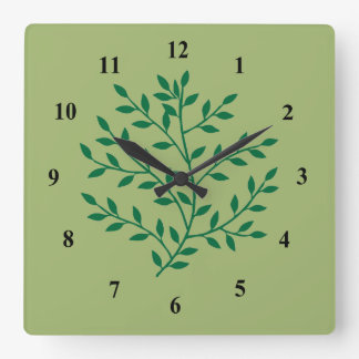 Relógio Quadrado O verde da samambaia sae da planta da folha