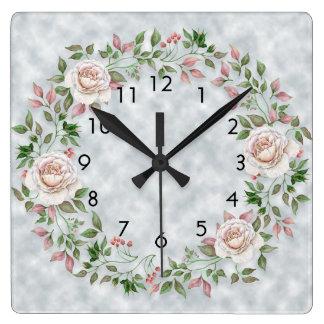 Relógio Quadrado O verde floral cor-de-rosa sae na luz - pulso de