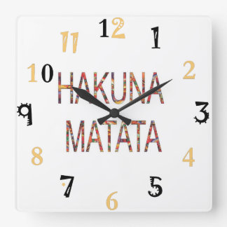 Relógio Quadrado O vintage africano colore o presente de Hakuna