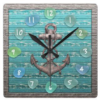Relógio Quadrado Oceano de vidro da madeira lançada costa da praia