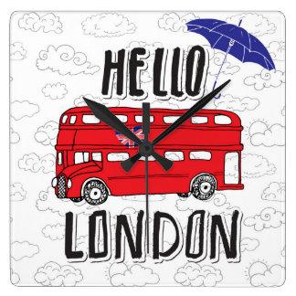 Relógio Quadrado Olá! sinal indicado por letras da mão de Londres |