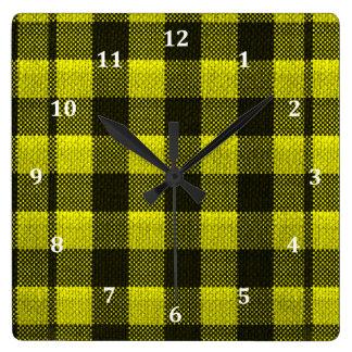 Relógio Quadrado Olhar Checkered de serapilheira do teste padrão do