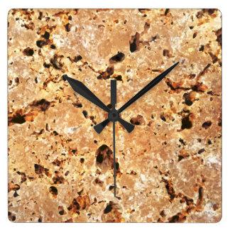 Relógio Quadrado Olhar da pedra do travertino