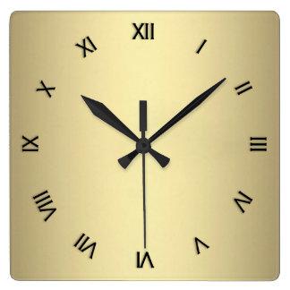 Relógio Quadrado Olhar do ouro do metal com numerais pretos