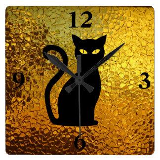 Relógio Quadrado Olhos de gato modernos da textura de vidro do