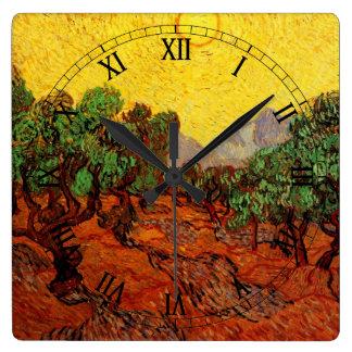 Relógio Quadrado Oliveiras de Van Gogh com céu amarelo Sun, belas