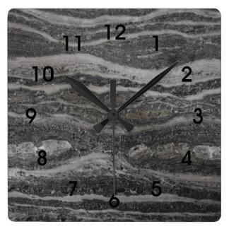 Relógio Quadrado Ondas de números pretos de mármore cinzentos