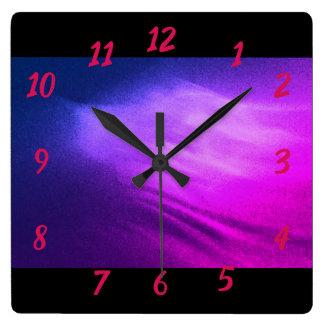 Relógio Quadrado Ondas roxas