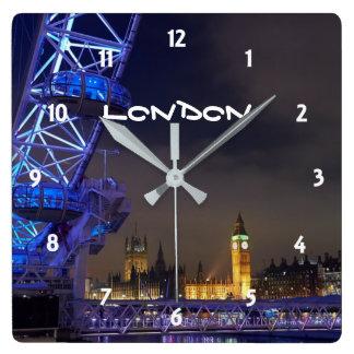 Relógio Quadrado Opinião BRITÂNICA do olho de Londres da paisagem