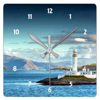 Relógio Quadrado Opinião cénico de Scotland do farol de Eilean