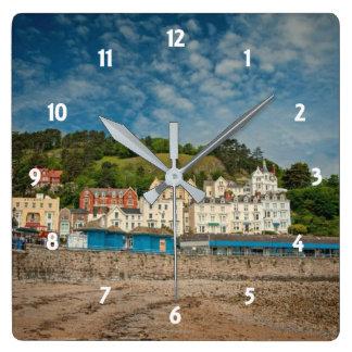 Relógio Quadrado Opinião litoral cénico da praia de Llandudno em