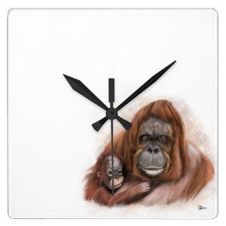 Relógio Quadrado Orangotango do bebê e pulso de disparo de parede