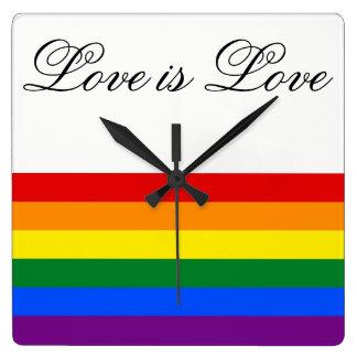 Relógio Quadrado Orgulho gay da lésbica da bandeira LGBT do