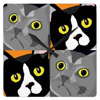 Relógio Quadrado Os gatos de George & de Lucas abstraem o pulso de