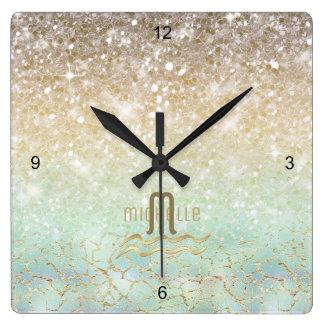 Relógio Quadrado Ouro combinado ID435 do Opal do inclinação do