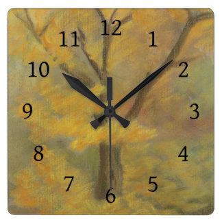 Relógio Quadrado Ouro do outono