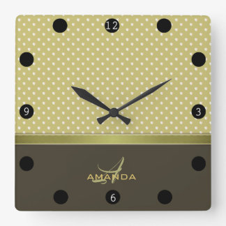 Relógio Quadrado Ouro e monograma elegante da verde azeitona de