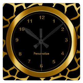 Relógio Quadrado Ouro escuro e impressão preto do teste padrão do