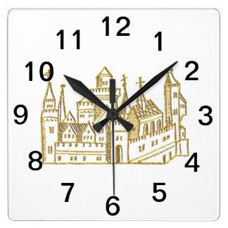 Relógio Quadrado Ouro heráldico do falso da crista do castelo #2 do