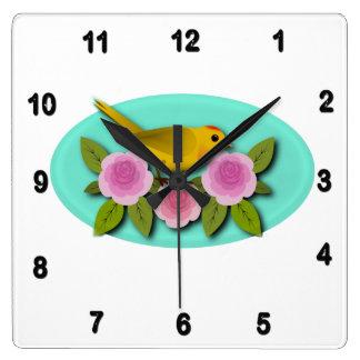 Relógio Quadrado Oval amarelo das peônias e do Aqua do rosa do