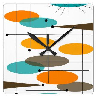 Relógio Quadrado Ovals abstratos modernos do meio século