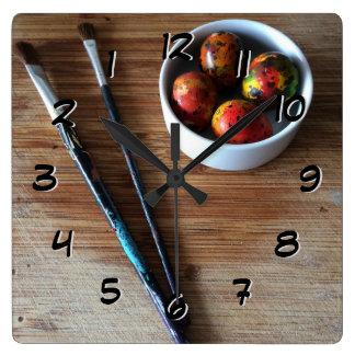 Relógio Quadrado Ovos de codorniz abstratos pintados