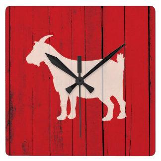 Relógio Quadrado Painel de madeira vermelho da cabra rústica da