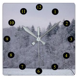 Relógio Quadrado Paisagem do inverno