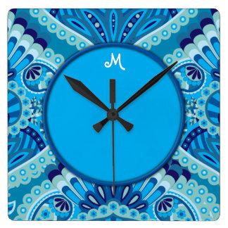 Relógio Quadrado Paisley emplumado - azulado