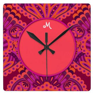 Relógio Quadrado Paisley emplumado - Pinkoinko